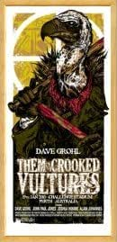 THEM CROOKED VULTURES - Natural Framed Limited Edition Concert Poster - by Rhys Cooper
