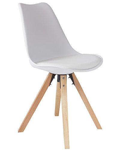 SAM Schalenstuhl Bojan, weiß, integriertes Kunstleder-Sitzkissen, Gestell aus Eichenholz,