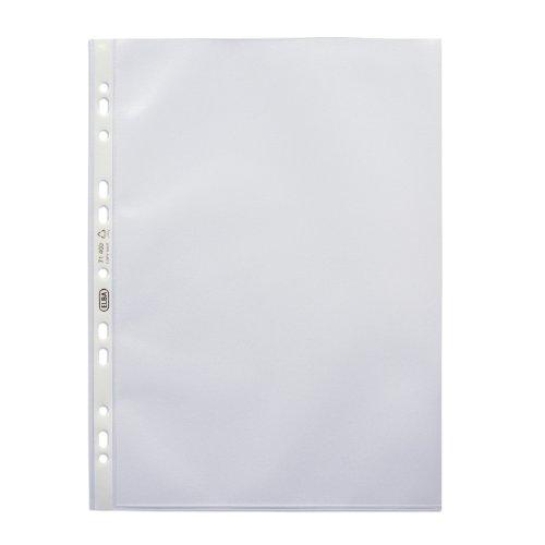 ELBA 100460988 Prospekthüllen Premium 100 Stück für DIN A4 0,12 mm blendfrei genarbt Universallochung PP-Kunststoff Klarsichtfolie Plastikhülle Klarsichthülle ideal für Ordner Ringbücher und Hefter