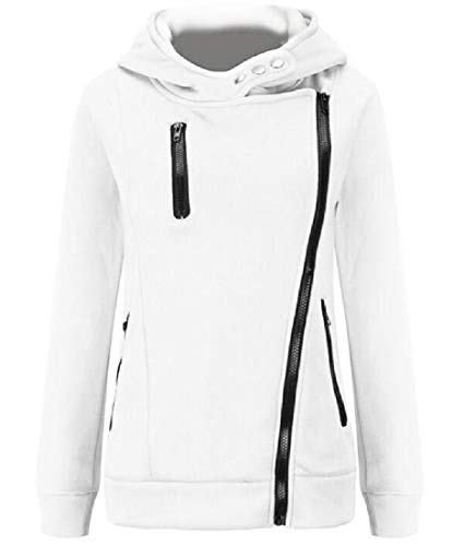 CuteRose Women Cowl Neck Relaxed-Fit Jersey Outwear with Chest Pocket White L Youth Zip-front Hoodie