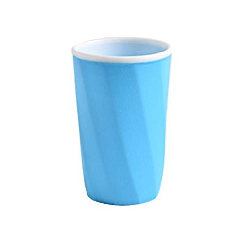 DOLDOA Haushalt Wohnen,Bad Zahnputzbecher Zahnpastahalter Strohbecher Trinken Waschen Gurgeln Tasse (Blau) -