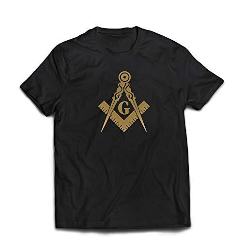 Freiheit Jagd-shirt (lepni.me Männer T-Shirt Brüderliches und freimaurerisches Logo, Freimaurerplatz und Kompass (Medium Schwarz Gold))