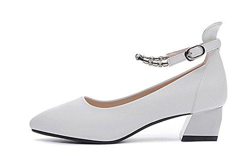 Damen Geschlossene Pumps mit Blitzer Schnalle Spitze Leder Schuhe mit Anti-Rutschem Blockabsatz Weiß
