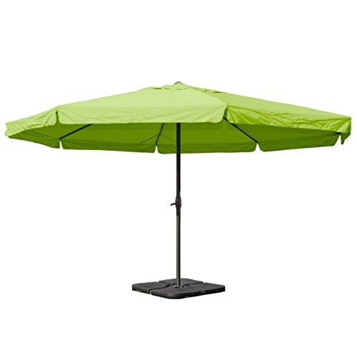 Alu-Sonnenschirm Meran Pro, Gastronomie Marktschirm mit Volant Ø 5m ~ grün mit Ständer