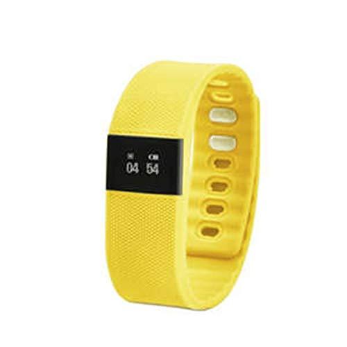 Mode Bluetooth Smart Armband Armbanduhr Unterstützung Gesunde Schrittzähler Wireless Activity Tracker Clock Anruferinnerung Fit für iPhone Android für Jungen Mädchen Jugendliche (Color : Yellow) -