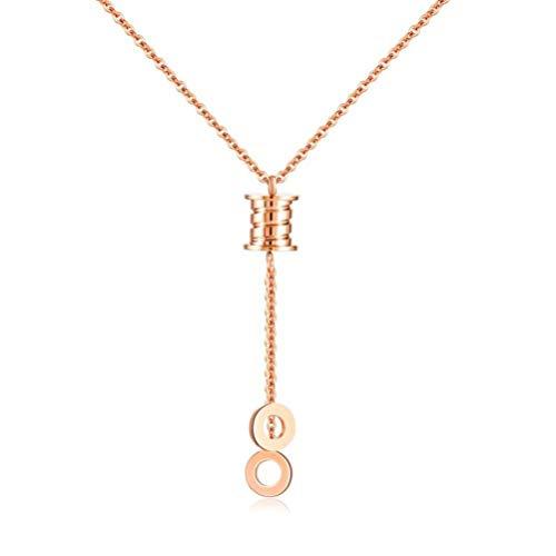 MingXinJia Mode Geometrische Kreis Anhänger Fransen Lange Halskette Titanium Stahl Rose Gold Farbe Gold Halskette Weibliches Geschenk, Gold & Rose