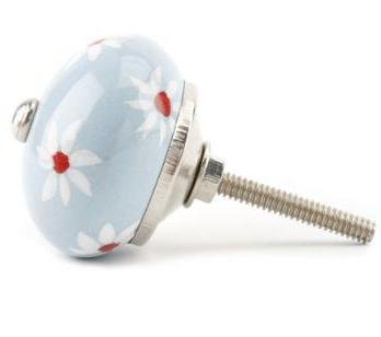 Ceramic Draw Handle Cupboard or Door/Door knob Blue Flowers