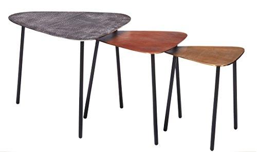 Kare Design Couchtisch Loft Traingle Vintage 3er Set, kleine, moderne Design Beistelltische, Silber-Rot-Gold (H/B/T) 49,5x62x57cm