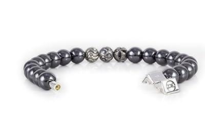 Rock Design Bracelet homme et femme Hématite - Pierre et argent 925 avec crochet