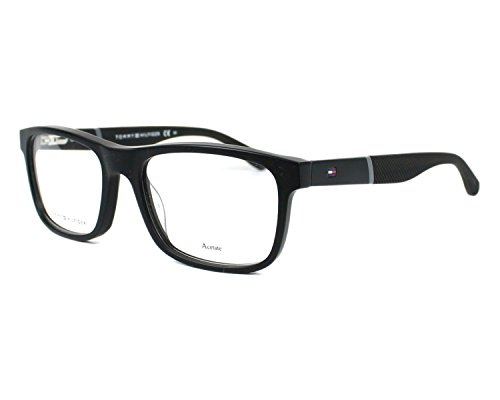 Tommy Hilfiger - TH 1282, Rechteckig, Acetat, Herrenbrillen, BLACK MATTE BLACK(KUN), 52/17/140