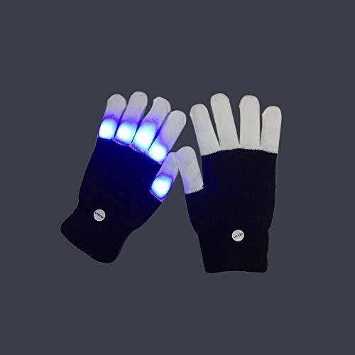 LED Handschuhe, Light Up Hand Handschuhe, Rave Handschuhe 6 Modi Leuchten für Festivals/Halloween/Weihnachten/Bonfire Night/Party/Spiele/Laufen/Sport/Geschenk, passend für Big Kid & Adult Hands,S