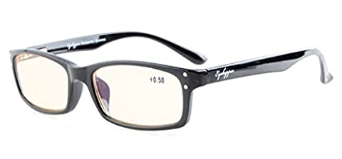 Eyekepper Federscharniere mit UV-Schutz, Anti-Blau-Strahlen, Blendschutz und Kratzfestes Objektiv Bernstein getönte Linsen Computer Lesebrillen Schwarz +2.75