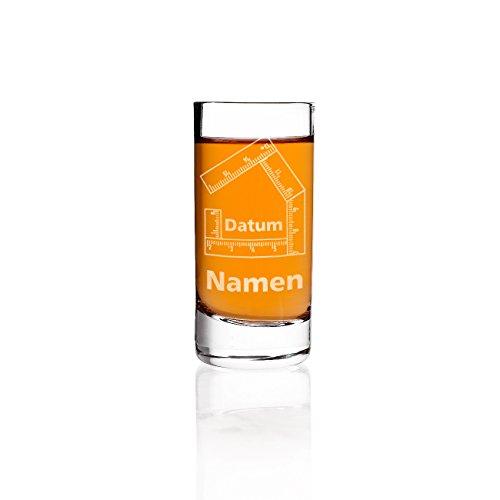 Stölzle Lausitz Schnapsglas zum Richtfest mit Gravur der Namen und des Datums - ideales Geschenk für Bauherren