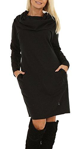 Baumwolle Kleider mit Kamin Kapuze Rollkragen für Damen Kleid Tube mit Lockere Schnitt Oversize Gr.40/42 L/XL in 7 Farben (40/42, (Schwarze Kapuzen Kleid)