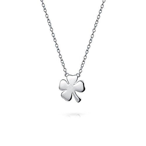 Bling Jewelry Lucky trébol de cuatro hojas Collar de plata esterlina de 16 pulgadas