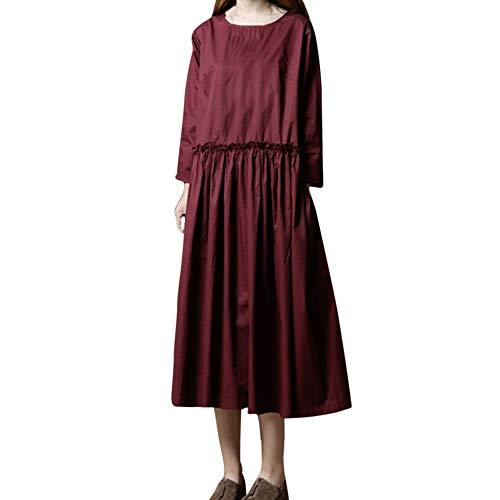TWIFER Damen Langarm Kleider Solid O-Ausschnitt Herbst Leinen Lose Langes Knöchellanges Kleid