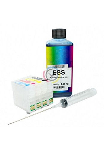 Kit liquido di pulizia testine e ugelli + cartucce ricaricabili Epson T2711, T2712, T2713, T2714 per stampante WorkForce WF-7620DTWF / WF-7610DWF / WF-7110DTW / WF-3640DTWF / WF-3620DWF