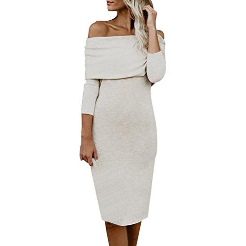 LSAltd Frauen Elegant Off Shoulder Langarm Bodycon Kleid Damen Solid Slim Party Minikleid (Khaki, XL) (Dot-socken Mini)