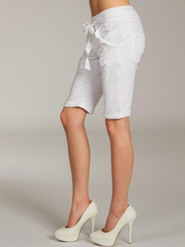 CASPAR BST008 Bermuda stonewashed femme - Short boyfriend en jersey Blanc