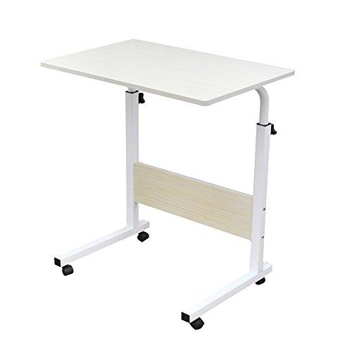 sogeshome Betttisch Mobile Tisch Portable Laptop Ständer Schreibtisch Warenkorb Tablett 23.6inch White maple. -