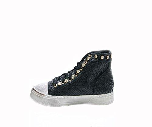 JustGlam - Femmes Sneakers haut col avec des strass et faux cuir effet python Noir