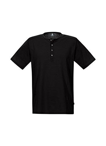 Trigema Herren T-Shirt T-Shirt mit Knopfleiste Schwarz (Schwarz 008)