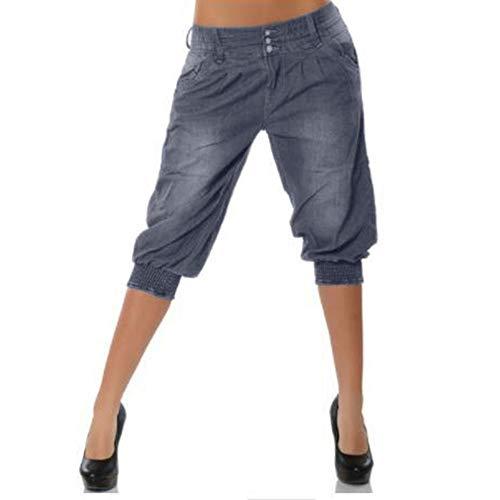 ZIYOU Damen Cowboy Hosen, Weiten Kurz Hosen Freizeit Streetwear Short Pants Frühling Sommer Herbst(4XL,Grau)