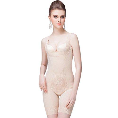 Yuandian donna intimo modellante body sottile traspirante regolabile post parto shapewear contenitivo lingerie shaping corsetto bustino dimagrante biancheria 7# albicocca m
