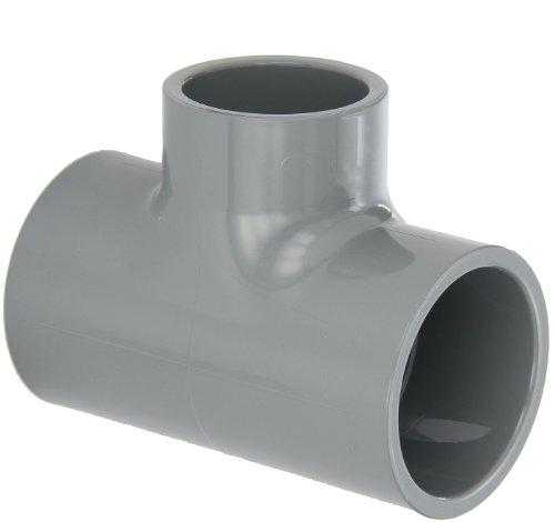GF Rohrsysteme CPVC Rohrverschraubungen, reduziert Tee, Schedule 80, Grau, Sockel, 2