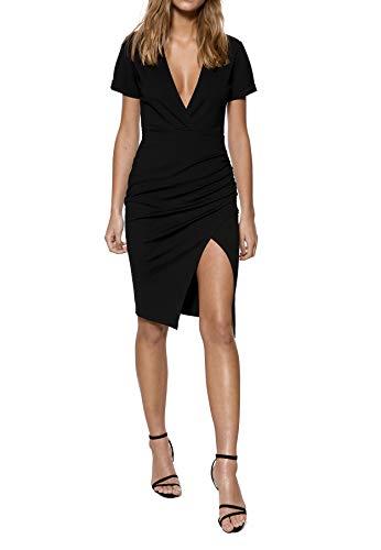 IVYREVEL Damen Deep V-Neck Midi Slit Dress Kleid, Schwarz (Black 001), 42 (Herstellergröße:XL) -