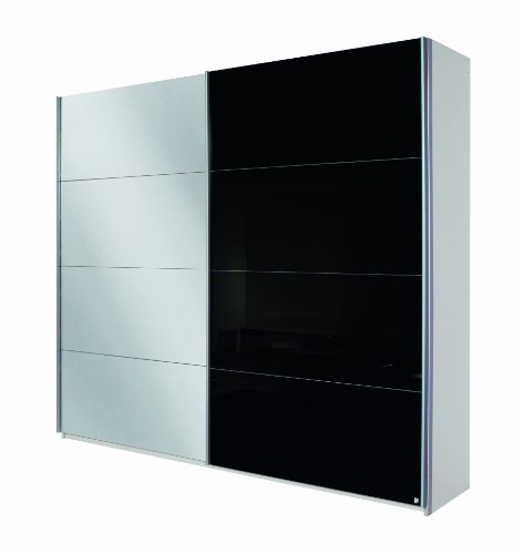 Rauch Schwebetürenschrank mit Spiegel Weiß Alpin 2-türig, Glasabsetzungen Schwarz, BxHxT 181x210x62 cm