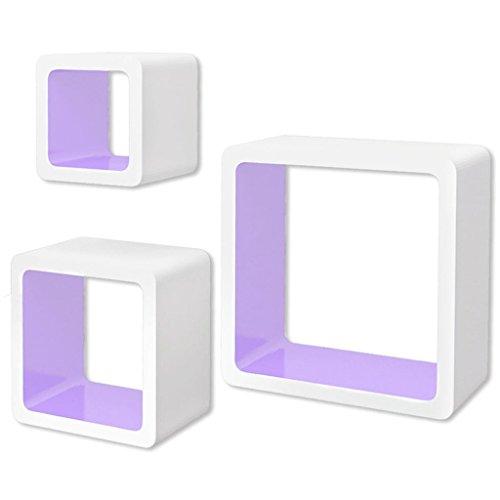 vidaXL 3 Etagères cubes murales en MDF Blanc-Violet Stockage rangement pour Livres/DVD