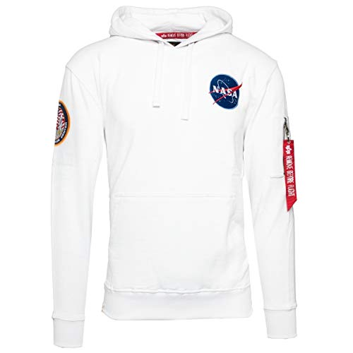 Alpha Industries Men Hoodie Apollo 11, Größe:S, Farbe:White