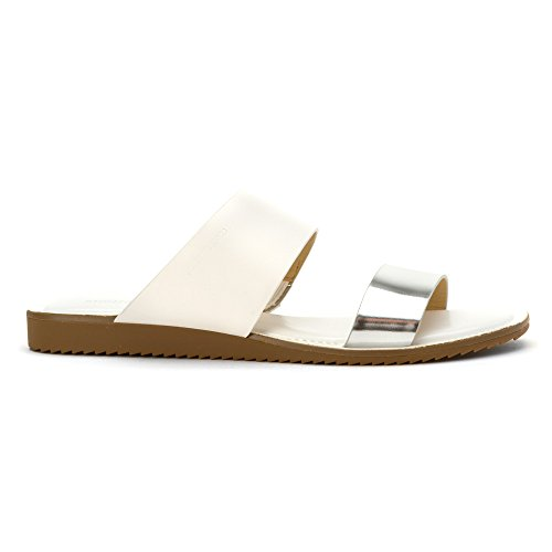 Michael Kors Michael Millie Slide Sandals Silv-White