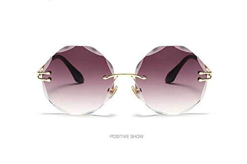 WSKPE Sonnenbrille,Mode Runde Lust Auf Bunte Sonnenbrille Frauen Rahmenlose Sonnenbrille Uv400 Rahmenlose Brillen Aus Metall Gold Frame Gradient Graue Linse