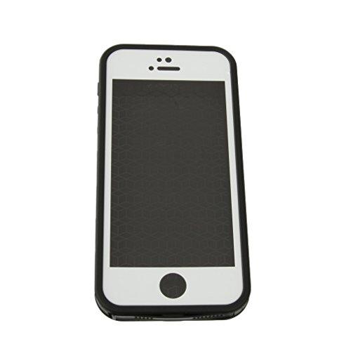 Wasserdichte Handy Case Cover Schutzhülle Tasche Kastenabdeckung für Iphone 5 5s - Schwarz Schwarz + Weiß