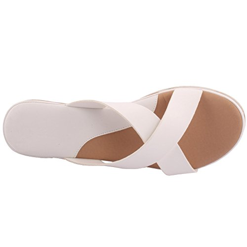 Unze Nouveau Femmes 'Aquino' Crossover Wedge Soirée d'été Soirée Beach Get Together School Carnival Casual Chaussons à chaussures Taille UK 3-8 Blanc