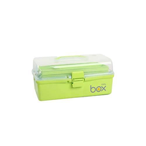 LYLQQQ Haushalt mehrschichtige Medizin Box Kunststoff Medizin Aufbewahrungsbox Erste-Hilfe-Kasten Gesundheitswesen Box Zwei Größen optional Medizinkasten (Color : Green, Size : 30.5×18×15cm)