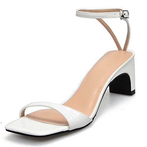Fenghz-Shoes Schuhe Mode Knöchelriemen Sandalen für Frauen 6cm Hohe Block Hochhackige Pumps für Damen Square Toe Single Band Side Cut Lack Oberes Kleid (Color : Weiß, Size : 36 EU)