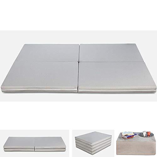 Evergreenweb Matratze Futon, faltbar, für Einzelbett und Doppelbett, platzsparend, mit Steppbett und doppeltem Bettwäsche-Set, Baumwolle