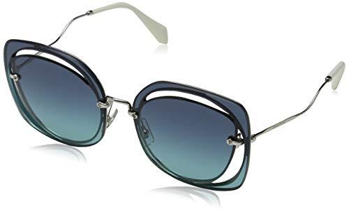 Miu Miu Damen 0MU54SS 1BC5R2 64 Sonnenbrille, Silber (Silver/Azure Blue),
