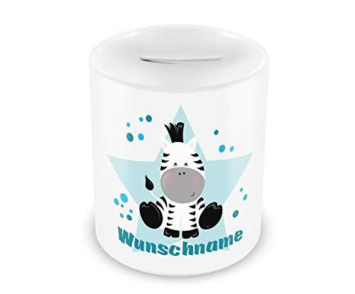 Samunshi® Kinder Spardose mit Namen und Zebra als Motiv für Kinder - Jungen und Mädchen Sparschwein Nr.2: weiß H:95mm / D:82mm