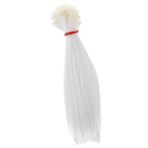 FLAMEER DIY Puppenhaar Perücke Glattes Haarteil Für 1/3 1/4 1/6 BJD Puppen Make-Up - Weiß