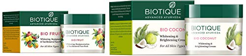 Biotique Bio Fruit Whitening And Depigmentation & Tan Removal Face Pack, 75g and Biotique Bio Coconut Whitening And Brightening Cream, 50g