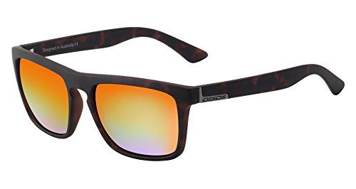 Dirty Dog Ranger Wayfarer Sonnenbrille In Satin Tortoise Braun mit Polarisierte Orange Spiegel Linse