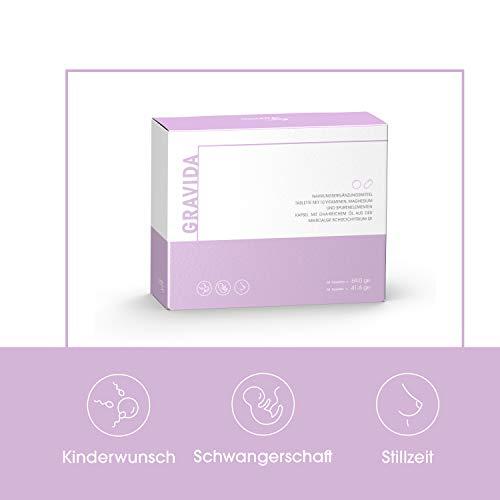 GRAVIDA Vegan Folsäure 800 µg für Kinderwunsch, Schwangerschaft & Stillzeit - mit DHA EPA (Omega 3), Vitamin D & B12, Eisen, Jod, 60 Tabletten + 60 Kapseln - 2