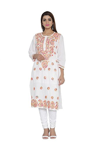 ADA Handicraft Lucknow Chikan Regular Wear Cotton Kurta Kurti A207576