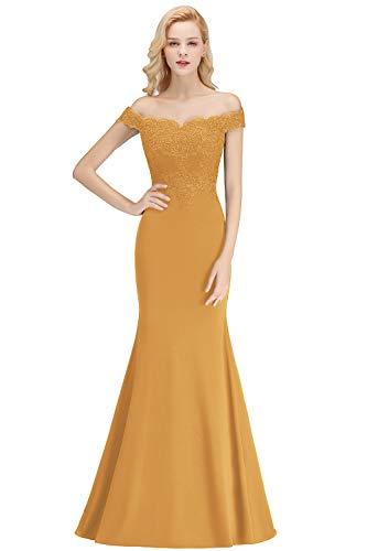 MisShow Damen Elegantes Etui Kleid Meerjungfrau Abendkleid Bodenlang Gelb 44