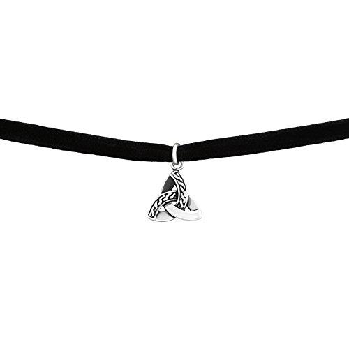 Laimons Damen Choker-Halskette Dreifaltigkeit oxidiert Schwarz Samt Sterling Silber 925