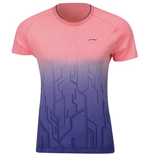 Li Ning Damen Badminton Wettkampf-T-Shirts Jersey Mono Garn trocken gefüttert Atmungsaktiv Sport Tops Tees AAYP066 - Violett - Mittel